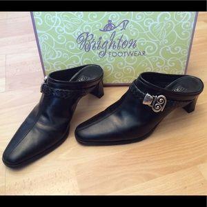 Brighton TAPA Black Leather Mules 7M